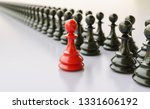 leadership concept  red pawn of ... | Shutterstock . vector #1331606192