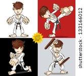 Man Demonstrate Punching, Kicking And Playing Tonfa Weapon Martial Arts Karate