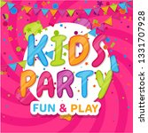kids party. pink poster with... | Shutterstock .eps vector #1331707928