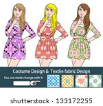 3 beautiful fashion girl  vector   Shutterstock .eps vector #133172255