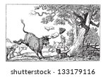 ancient,animal,antique,art,artist,artwork,black,bull,caricature,caricaturist,charge,chased,cow,doctor,dr