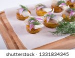salted raw herring with potato... | Shutterstock . vector #1331834345