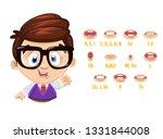brunette clever boy in glasses... | Shutterstock .eps vector #1331844008