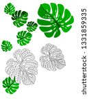 vector tropical pattern with... | Shutterstock .eps vector #1331859335