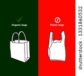 say no to plastic bags and yes...   Shutterstock .eps vector #1331860532