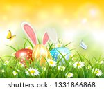 easter theme with bunny ears... | Shutterstock . vector #1331866868