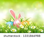 easter theme with bunny ears... | Shutterstock . vector #1331866988