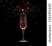 stylized champagne glass with... | Shutterstock . vector #1331901635