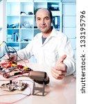 senior tech tests electronic... | Shutterstock . vector #133195796