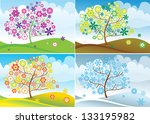 tree in for seasons  spring ... | Shutterstock .eps vector #133195982