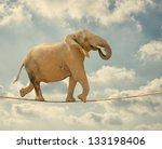 Elephant In Sky Walking On Rope