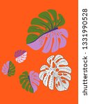 vector tropical pattern with... | Shutterstock .eps vector #1331990528