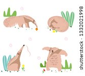 anteater set. the animal... | Shutterstock .eps vector #1332021998