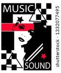 music sound pop art background... | Shutterstock .eps vector #1332077495