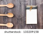 old recipe notebook  spoons on... | Shutterstock . vector #133209158