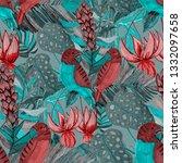 tropical birds seamless pattern....   Shutterstock . vector #1332097658