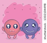 emoticons faces with crazy... | Shutterstock .eps vector #1332104498