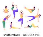 yoga workout girl set. women... | Shutterstock .eps vector #1332115448