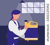 mechanic worker with oil gallon | Shutterstock .eps vector #1332125342