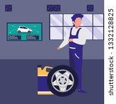 mechanic worker with oil gallon ... | Shutterstock .eps vector #1332128825