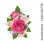 beautiful pink and white rose... | Shutterstock . vector #1332166778