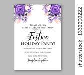 romantic violet peony bouquet... | Shutterstock .eps vector #1332200222
