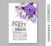 romantic violet peony bouquet... | Shutterstock .eps vector #1332200225
