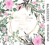 floral wedding invitation peony ...   Shutterstock .eps vector #1332203798