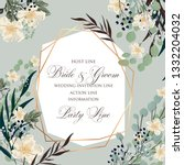floral wedding invitation peony ... | Shutterstock .eps vector #1332204032