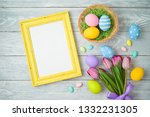 easter holiday background with... | Shutterstock . vector #1332231305