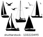 sail boats in silhouettes with... | Shutterstock .eps vector #133223495