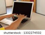 close up of caucasian boy using ... | Shutterstock . vector #1332274532
