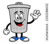 trash can mascot waving   a... | Shutterstock .eps vector #1332288632