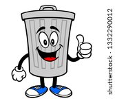 trash can mascot with thumbs up ... | Shutterstock .eps vector #1332290012