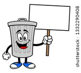 trash can mascot with a sign  ... | Shutterstock .eps vector #1332290408