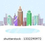 wintertime cityscape poster...   Shutterstock . vector #1332290972
