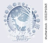 winter deer in forest  poster... | Shutterstock . vector #1332291065