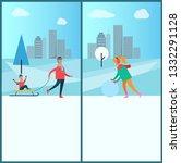 wintertime and cityscape...   Shutterstock . vector #1332291128