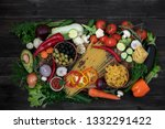 a mixture of herbal products...   Shutterstock . vector #1332291422
