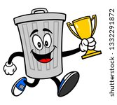 trash can mascot running with a ... | Shutterstock .eps vector #1332291872