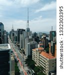 paulista avenue  in sao paulo ... | Shutterstock . vector #1332303395