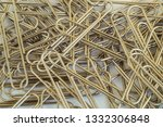 steel paper clips on a white... | Shutterstock . vector #1332306848