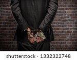 brazilian man holding bills of... | Shutterstock . vector #1332322748