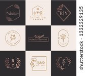 floral logo set   Shutterstock .eps vector #1332329135