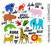 vector set of children's... | Shutterstock .eps vector #1332344525