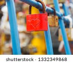 Red Padlock Engraved With Heart