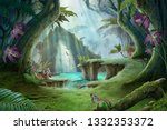 Enchanted Jungle Lake Landscap...