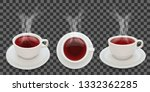 hot tea  three cup positions... | Shutterstock .eps vector #1332362285