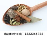 Indian Dry Spices In A Wooden...