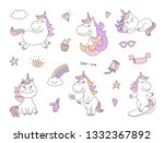 cute unicorn characters with...   Shutterstock . vector #1332367892